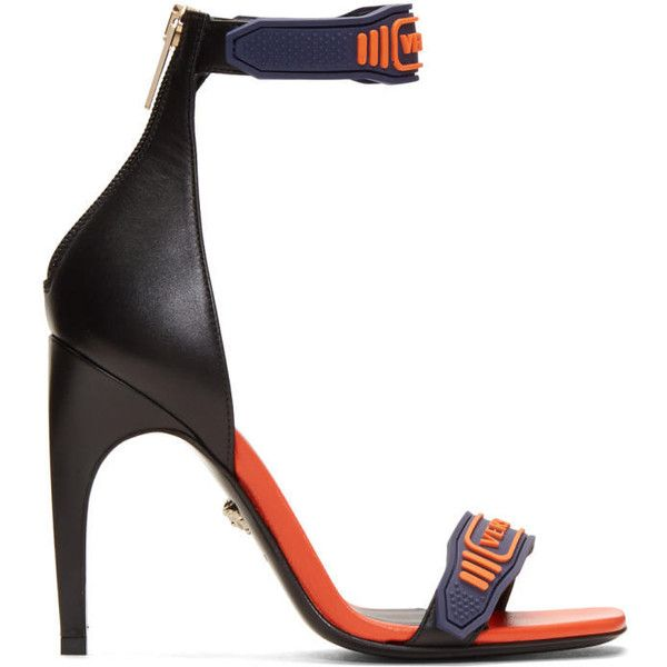 d16bcc37dde Versace Navy and Orange Logo Strap Sandals ( 925) ❤ liked on Polyvore  featuring shoes