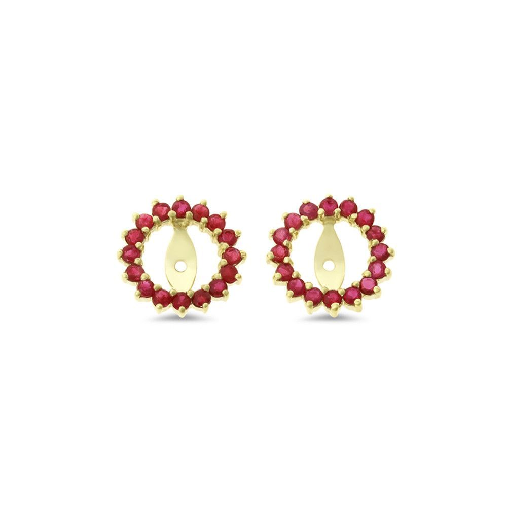 079ctw Round Shaped Genuine Natural Ruby Earrings Jacket 14kt Yellow Gold