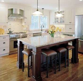 Large kitchen island with shelves on end google search - Kitchen island designs with seating for 6 ...