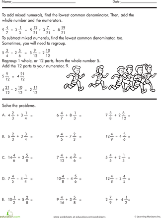 Addition of mixed numbers with different denominators worksheets
