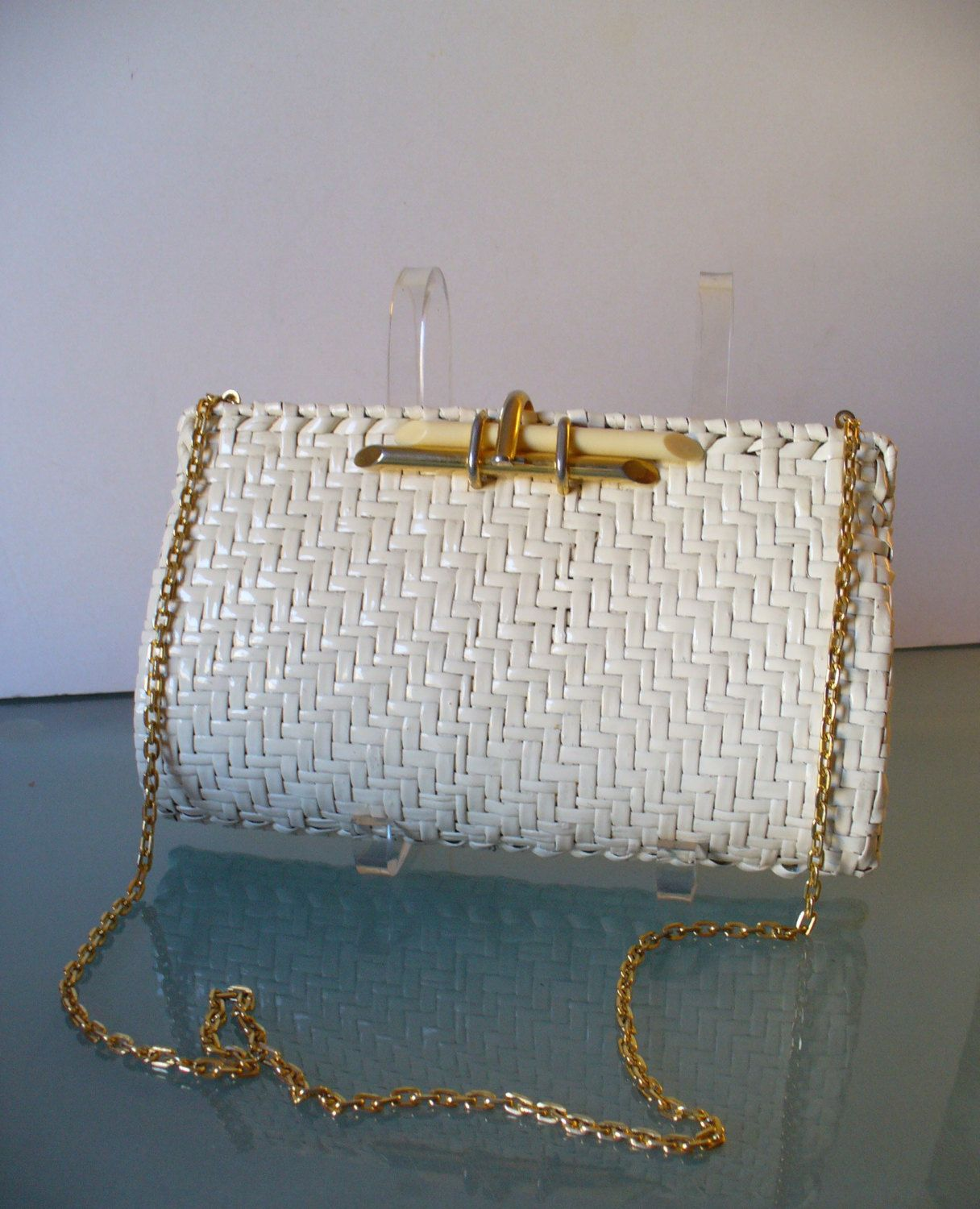 d891ceb8d37 Vintage Rodo Cream Wicker Clutch Bag Made in Italy | Vintage Summer ...