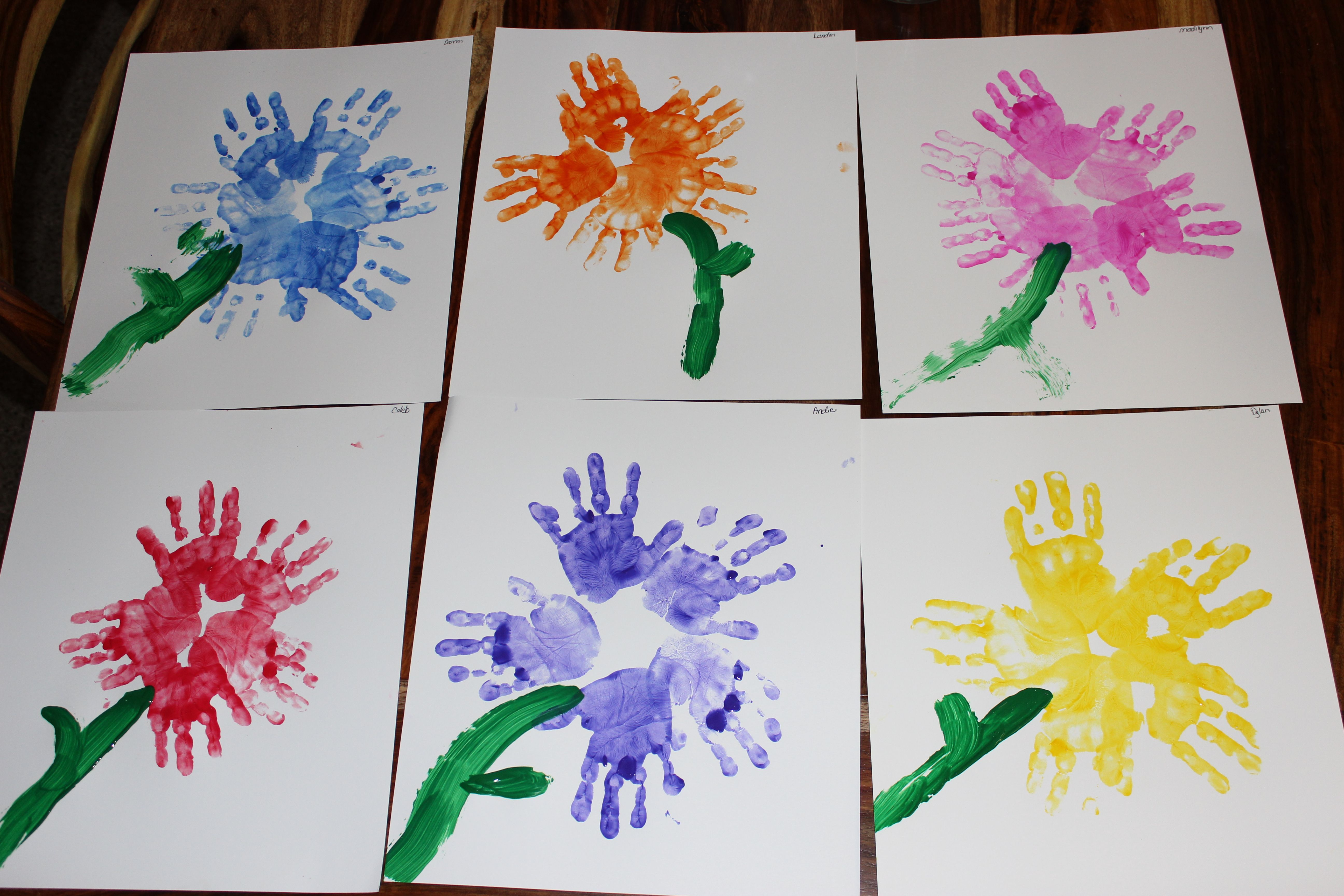 Spring Preschool Craft Hand Print Flowers
