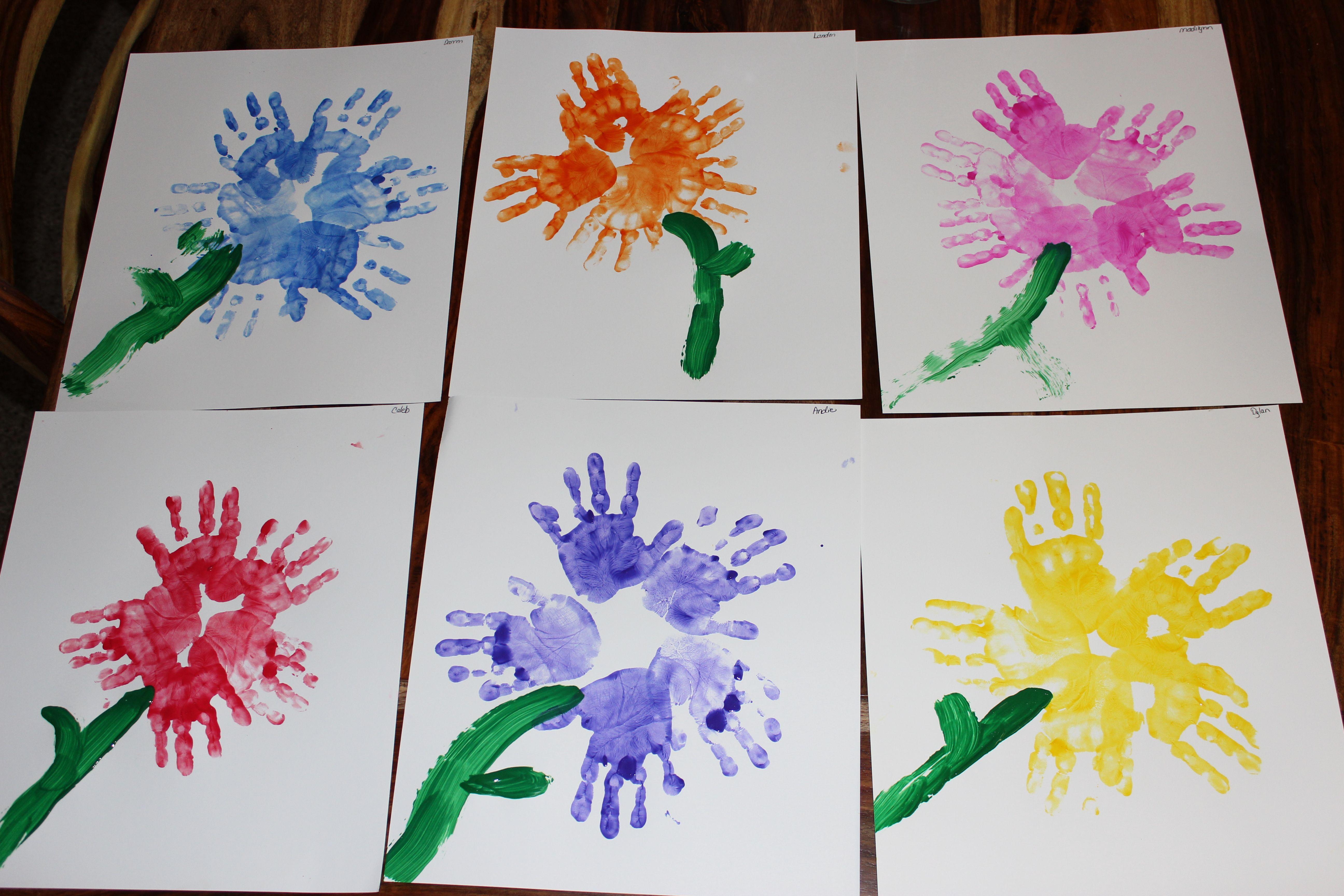 Spring Preschool Craft Hand Print Flowers