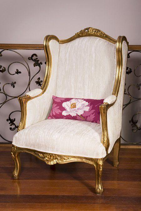 Gilt Louis XV WingBack, White Velvet | Luis XV | Pinterest | Luis xv ...