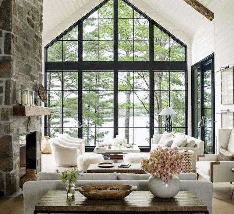 42+ Comfy Lake House Living Room Decor Ideas | Modern lake ...