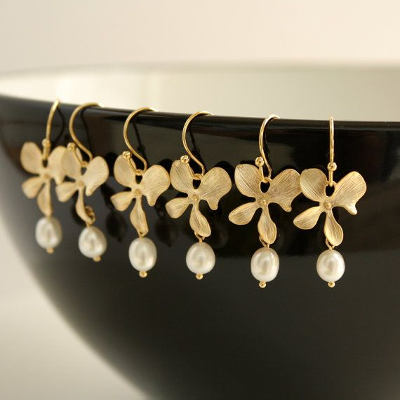 Set of Three Bridesmaid Jewelry Gold Orchid by poetryjewelry, $50.00