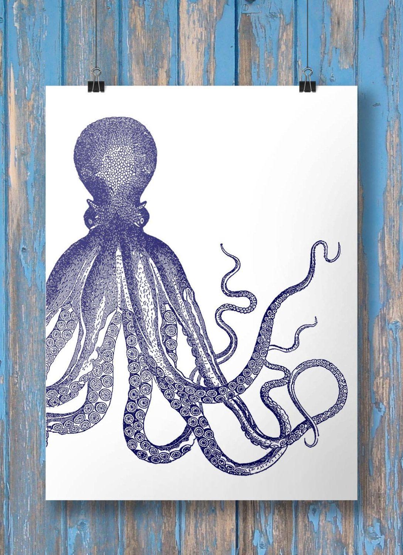 Octopus art print asymmetrical navy blue octopus nautical