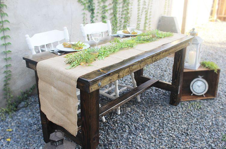 Hickory sweetheart farm table rental san diego table