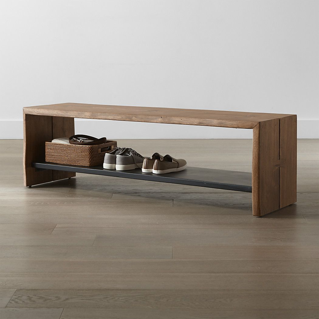 Yukon Natural Entryway Bench With Shelf Reviews Crate And Barrel Basement Decor Entryway Furniture Mirror With Shelf