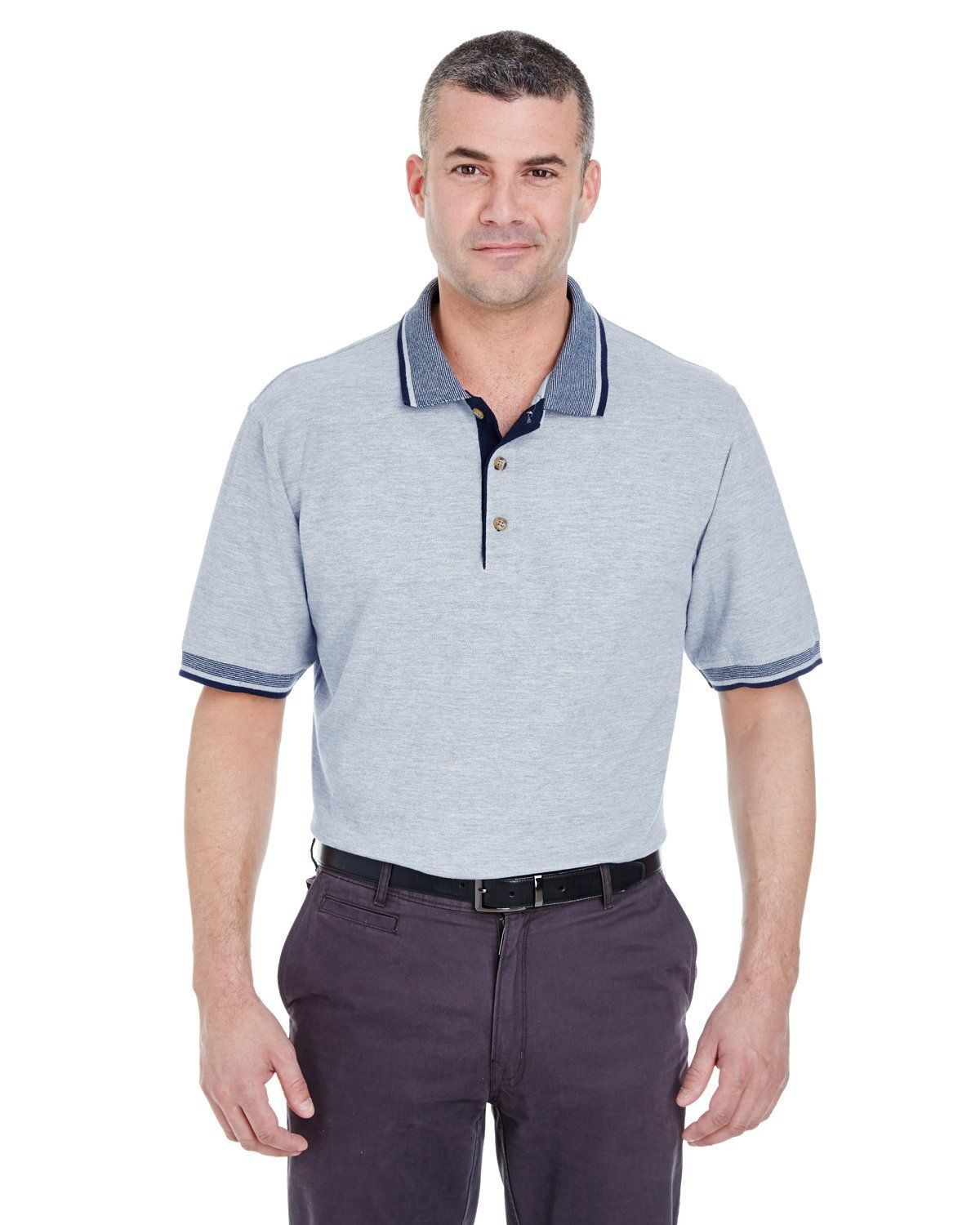 UltraClub 8537 Men/'s Color-Body Classic Pique Multi-Stripe Trim Polo Shirt