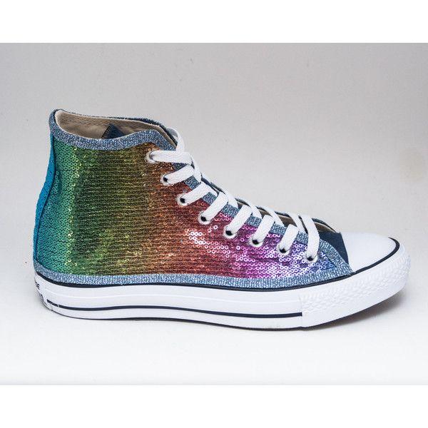 532cd2f57bba7 Sequin Rainbow Over Blue Multi Colors Canvas Converse Hi Top ...