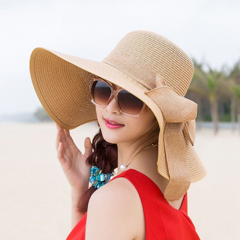 2017 Newest Women Large Floppy Sun Caps Female Summer Straw Hats Ladies  Wide Brim Beach Hat Sexy Chapeau Spring Praia ZXM-JY-250 e376ed03f4e5