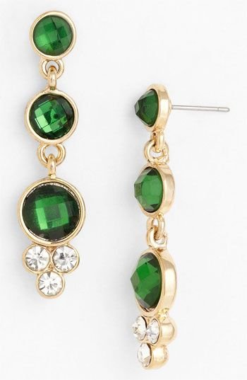 Anne Klein Turan Linear Earrings Nordstrom Emerald Green Jewelry