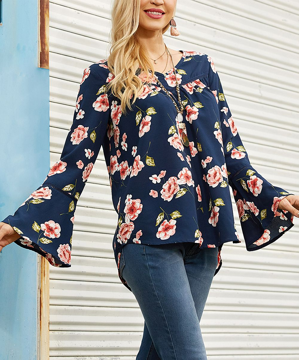8adc5fad822 Suzanne Betro Navy & Pink Floral Bell-Sleeve V-Neck Tunic - Women & Plus |  zulily