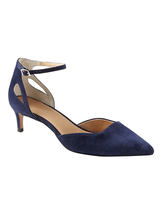 85367a067539 Banana Republic Womens Side Cutout Kitten Heel Navy Suede