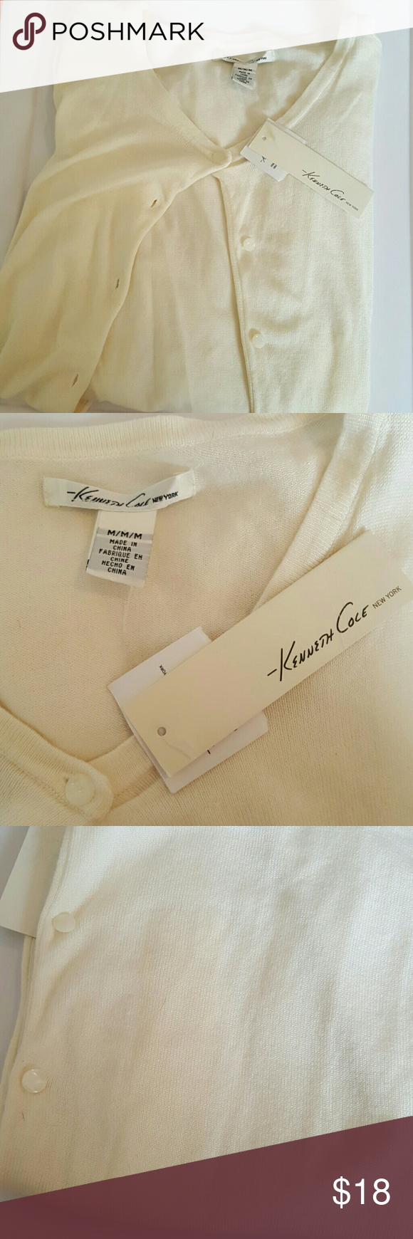 Kenneth Cole long sleeve cardigan New with tags. No damage. There is a spot you can see (in 3rd picture) from me removing the sizing sticker. I just did not want to remove the tags and wash it if I was never going to wear it. It should be no problem coming off. This is a long cardigan with long sleeves as well. Super light and soft too! Comes from a smoke free home. Kenneth Cole Sweaters Cardigans