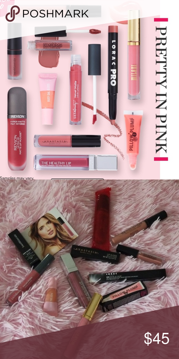 """Pretty In Pink"" Lip Bundle 11pc 💗BNIB💗 Retail Value $96❣11 shades of pinks, nudes, and everything in between!💗Revlon Ultra HD Matte Mousse in ""Spice 💗Bare Minerals GEN NUDE Matte Liquid Lip in "" Swag"" 💗Milani Amore Shine in ""Enchanting Enchanter""💗LORAC PRO matte Lip in ""Greige""💗ABH Lip Gloss in ""Sepia"" 💗Tarte Busy Gal Gloss 💗Physicans Formula The Healthy Lip ""Berry Healthy""💗Makeup Rev London ""Piece of Cake""💗Smashbox in ""Stepping Out💗Soap&Glory Pillow Plump in ""Pinkwell""💗Ulta Beauty"