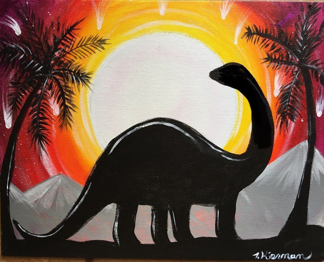 Dinosaur Painting Learn To Paint This Step By Step Dinosaur Silhouette Silhouette Painting Canvas Painting Tutorials