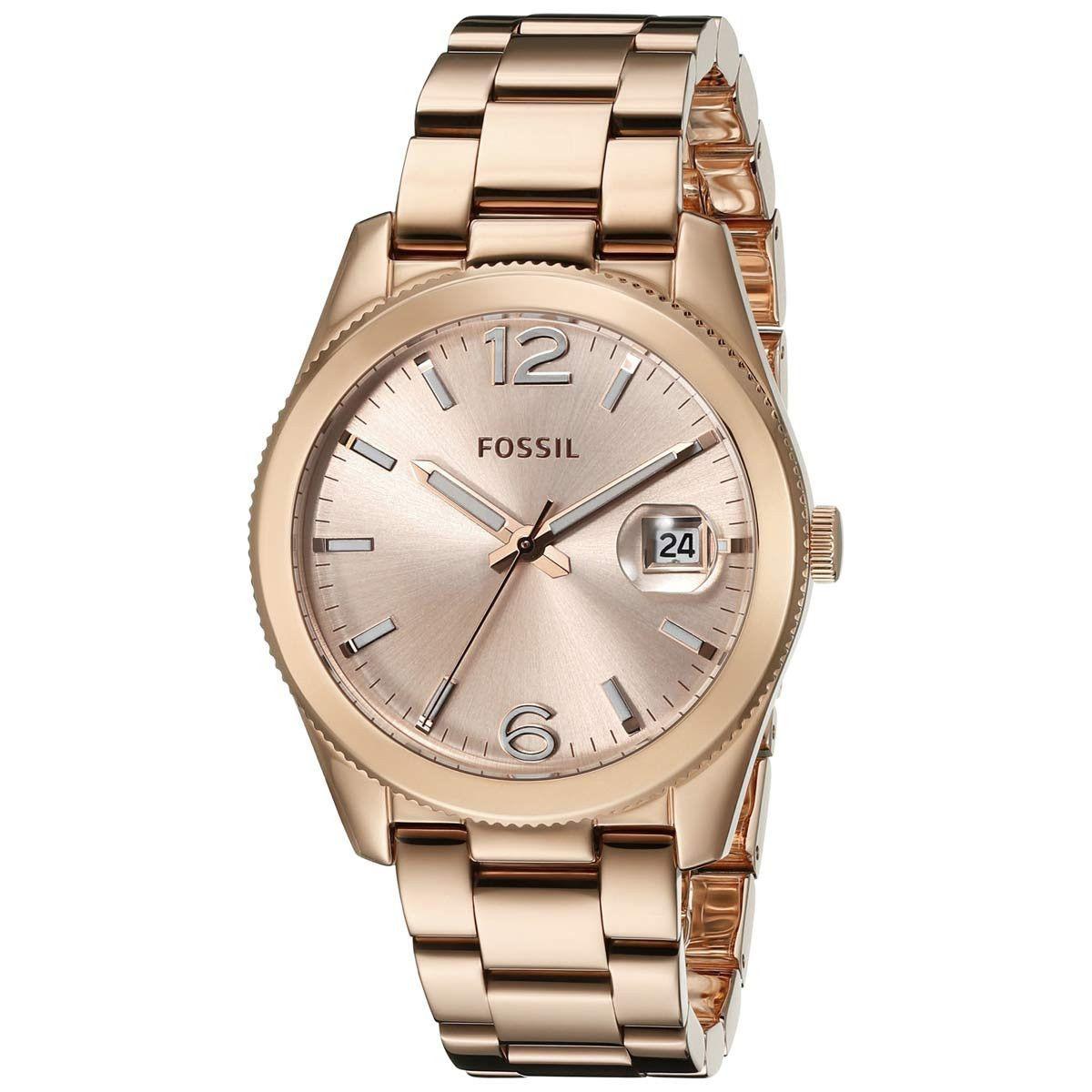effaa2623171 Fossil ES3587 Women s Perfect Boyfriend Rose Gold Dial Rose Gold Steel  Bracelet Watch