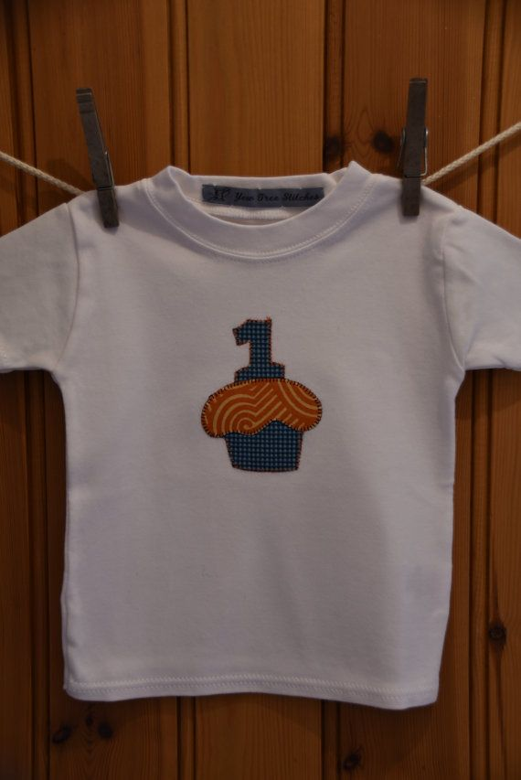 Baby boy's 1st birthday appliqué t-shirt in di YewTreeStitches