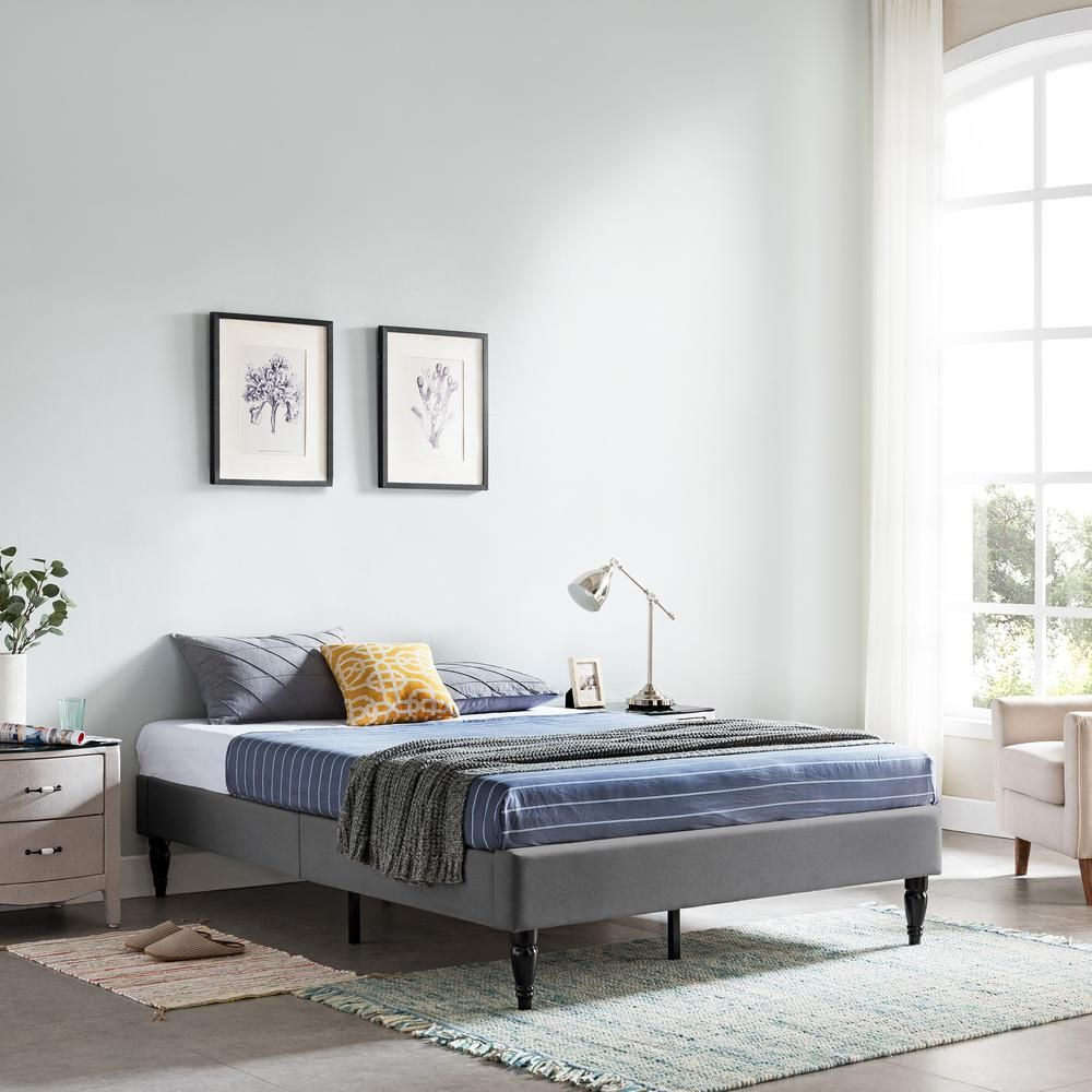 Noble House Upholstered Queen Bed Frames Merribee Charcoal Gray