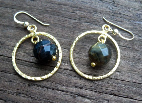 Faceted Blue Tiger Eye Earrings by VirginiaCharm on Etsy, $22.00