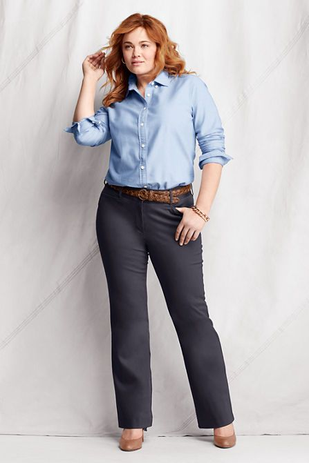 0d2291a0078 Women s Plus Size Stretch Boot-cut Chino Pants from Lands  End ...