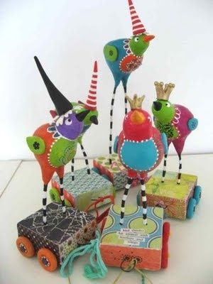 whimsical birds from clay - Google Search