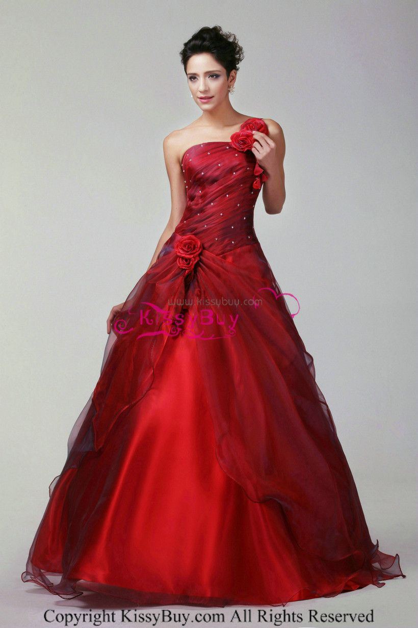 Masquerade Ball Gowns | One Shoulder Ball Gown Organza Dark Red ...
