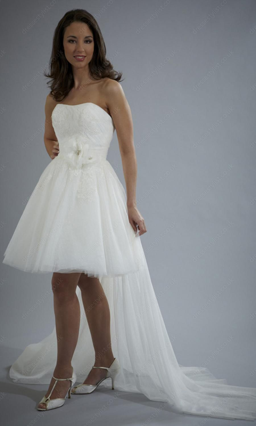 A-line Strapless Tulle Short/Mini White Flowers Wedding Dress Shop ...