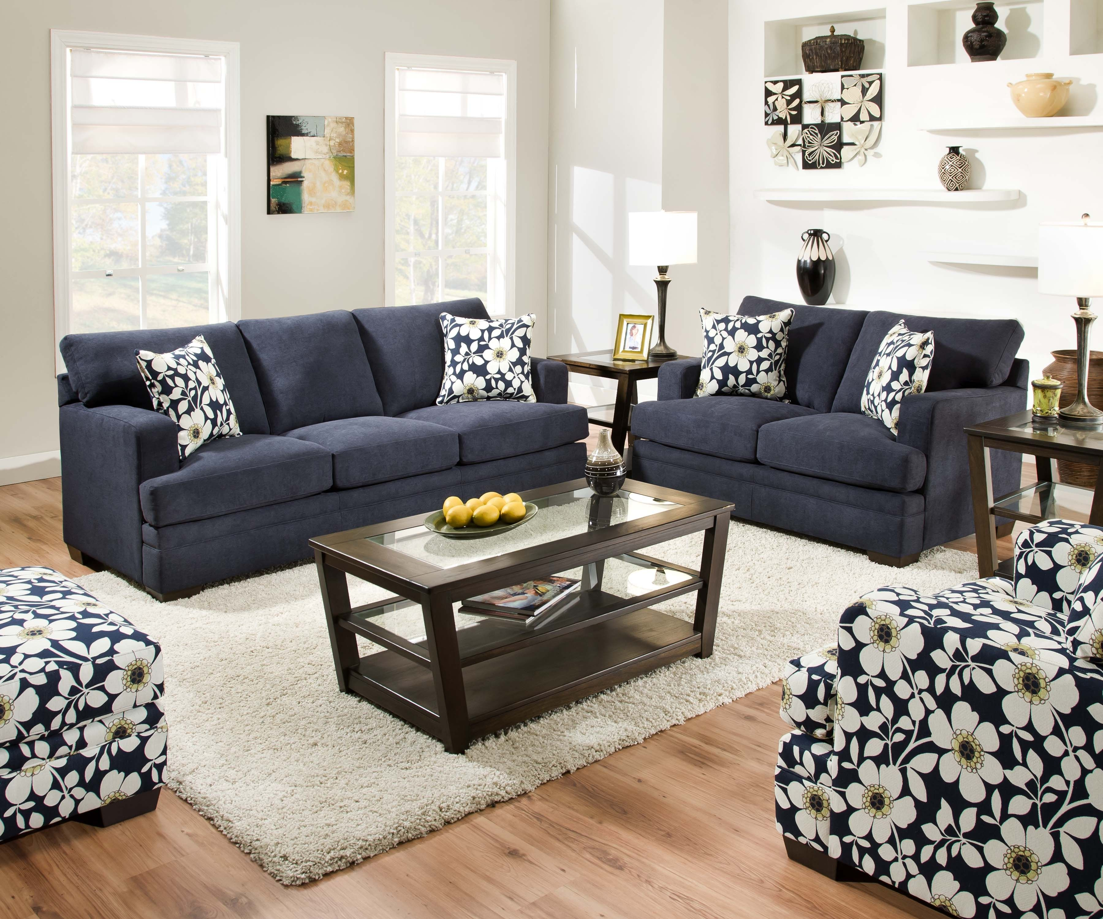 Simmons Upholstery 6491S CHICKLET Sofa Midnight Blue