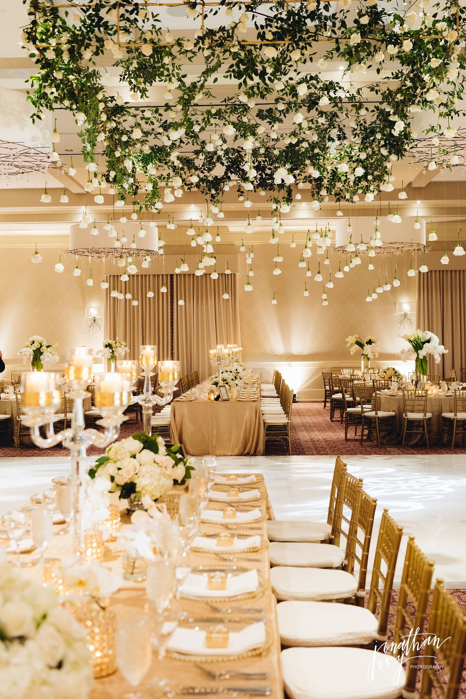 The briar club white and gold wedding decor with white rose the briar club white and gold wedding decor with white rose garland dance floor by events junglespirit Image collections