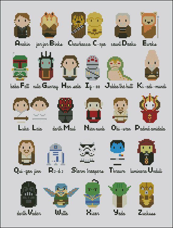 Star Wars parody alphabet sampler PDF cross por cloudsfactory ...