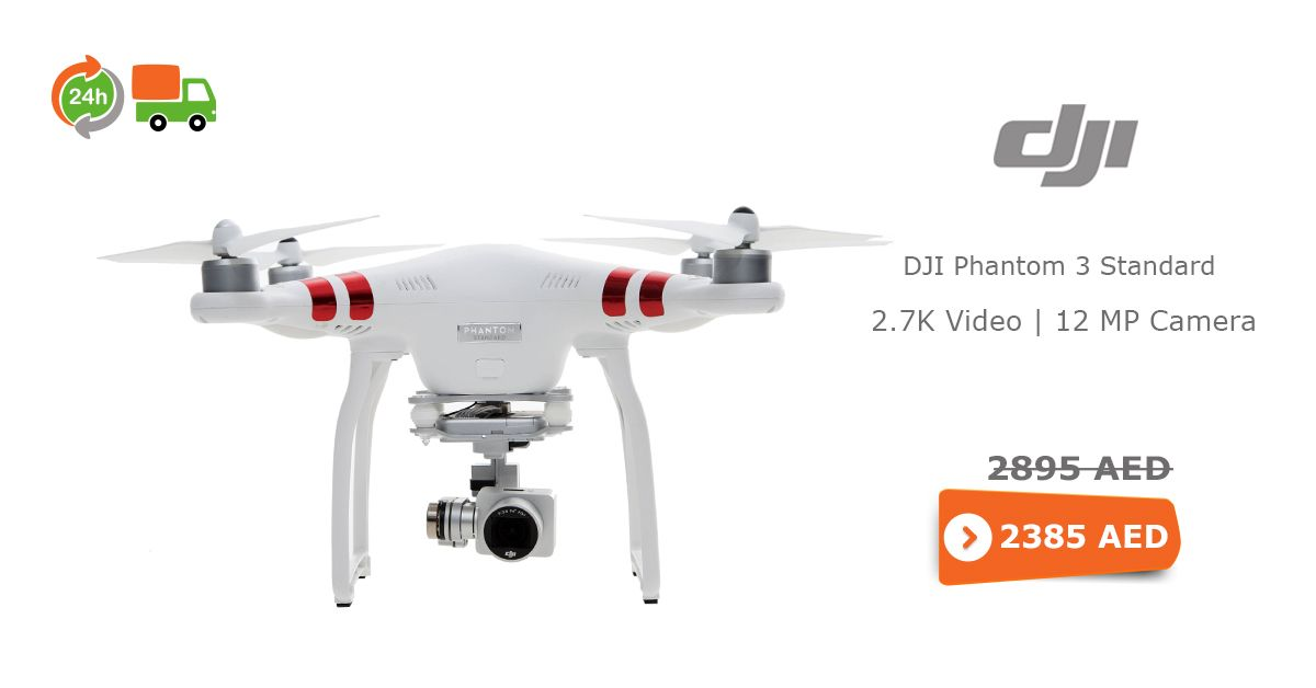 Affordable Online Price Dji Phantom 3 Standard 27k Video 12 Mp Camera Free Cash On Delivery AED 2385 In Dubai UAE