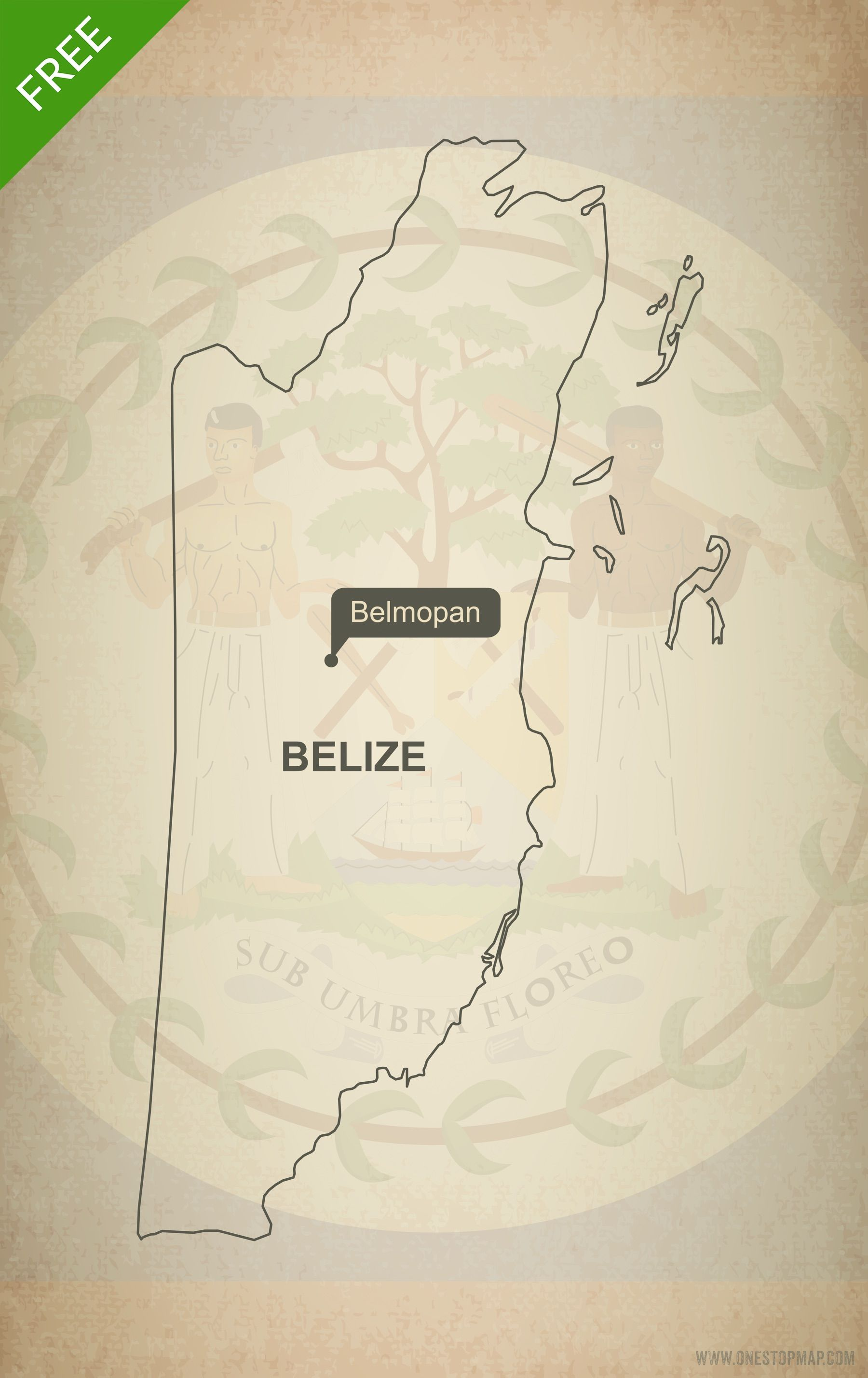 Free Vector Map Of North America.Free Vector Map Of Belize Outline Belize