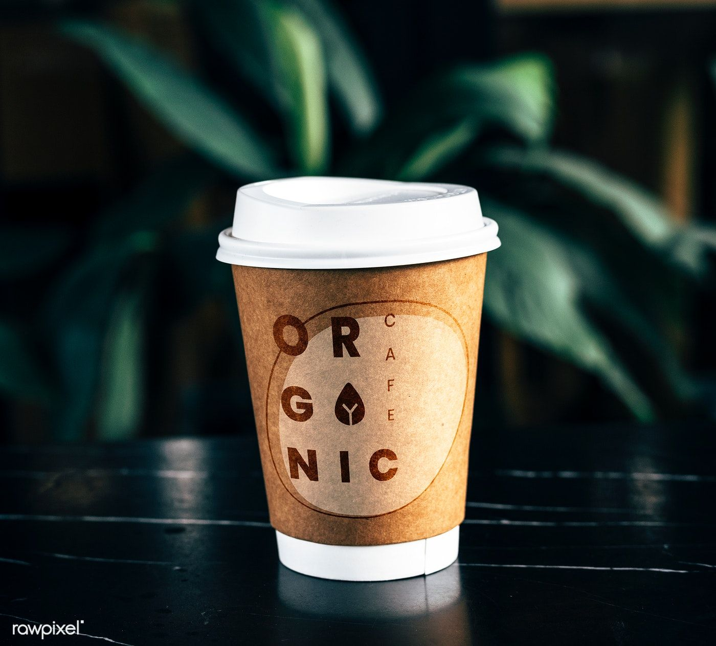 Disposable coffee paper cup mockup design free image by
