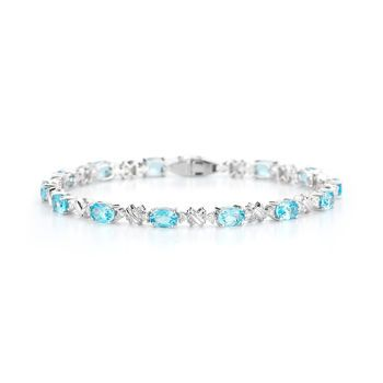 1062c97171351 Blue Topaz & Diamond Bracelet 14-kt White Gold | All my favorite things
