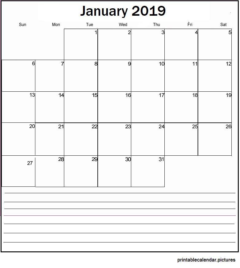 January 2019 Blank Calendar January 2019 Blank Calendar January