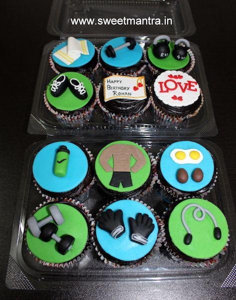 Gym Theme Customized Designer Fondant Cupcakes For Husbands