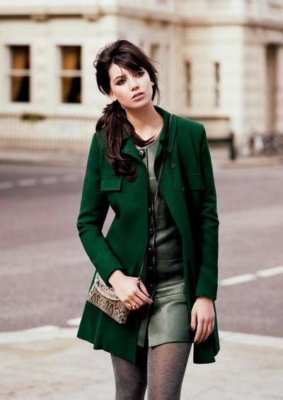 Gorgeous color combo with that beautiful emerald green jacket