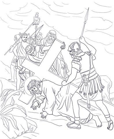 Settima Stazione Gesù Cade Per La Seconda Volta Disegno Da