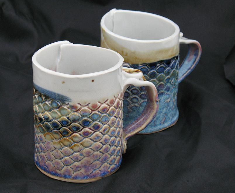 Fish Scale Hand Built Pottery Mugs Pottery Houses