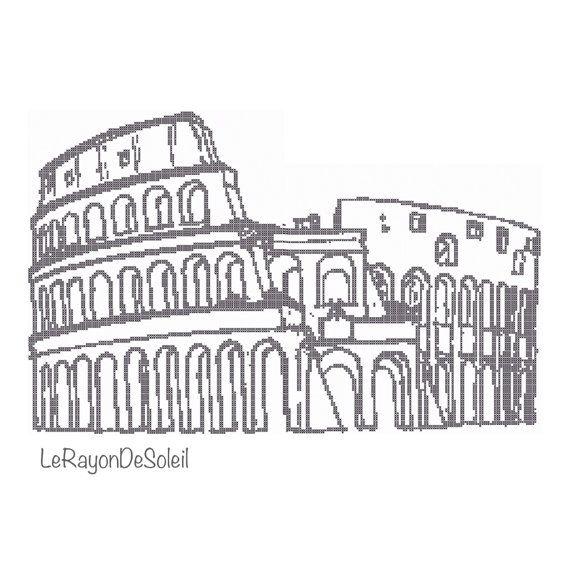 Cross stitch pattern Colosseum Rome monument Italy on Etsy, 3,00€