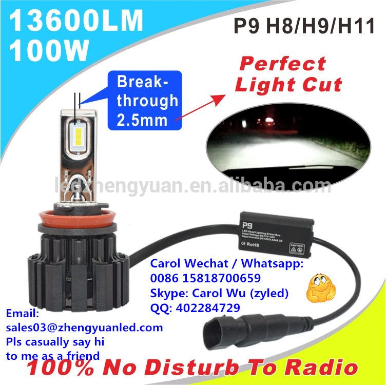 100 Most Bright 13600lm 100w P9 Led H4 Focos Led H15 Kit Xenon 13000 Lumen Car Headlight Automobiles Motorcycles H7 Led 6000k Car Headlights Led Headlights