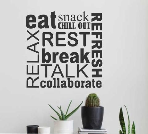 """Self-adhesive Vinyl Wall Lettering Break Room or Kitchen Word Collage Available in TWO sizes: 22"""" wide x 22"""" high 40"""" wide x 40"""" high *Please note this size will come in two pieces - see second pictur"""