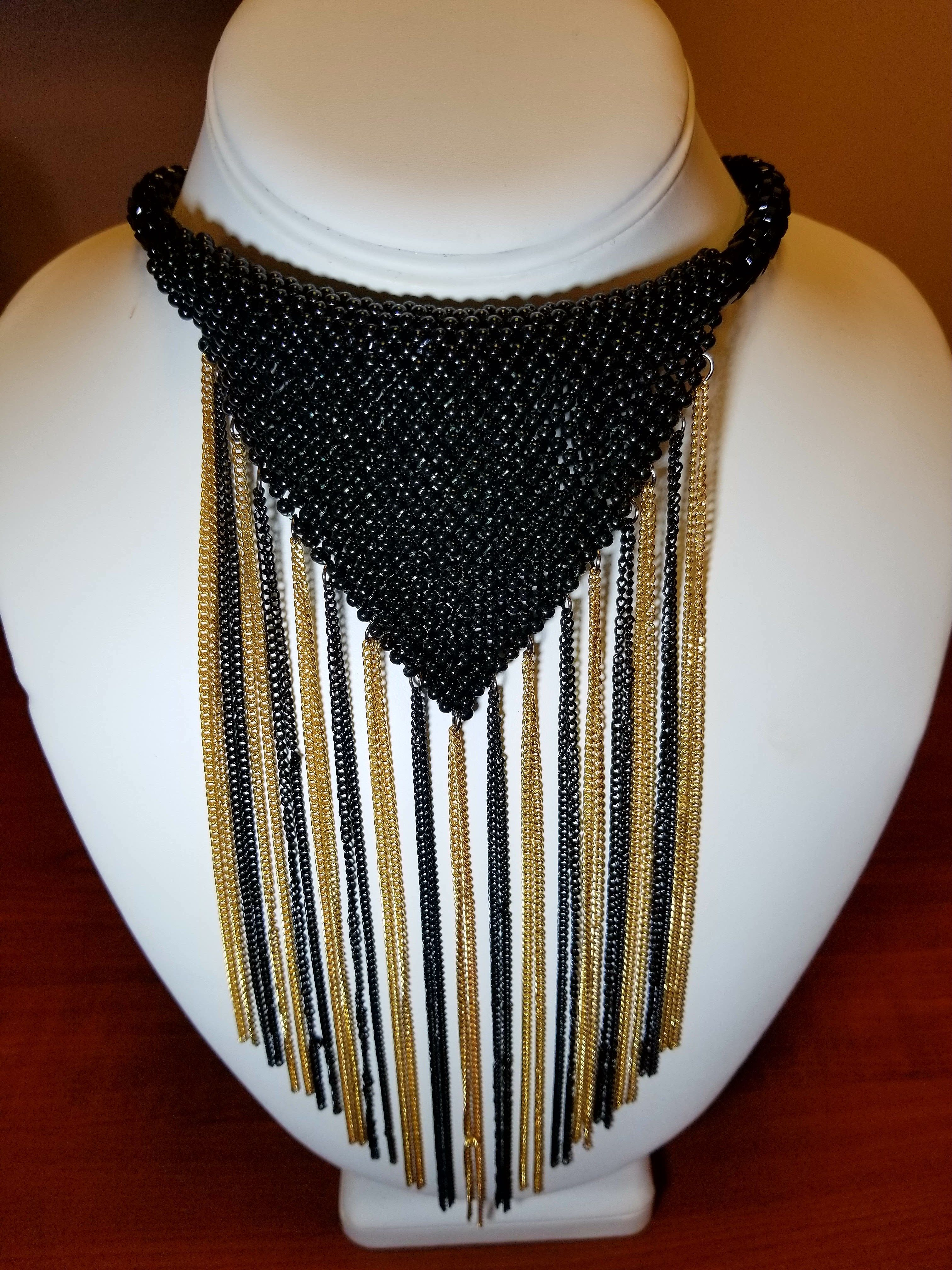 Womens Fashion Costume Jewelry Black and Gold Bib Necklace at Shop