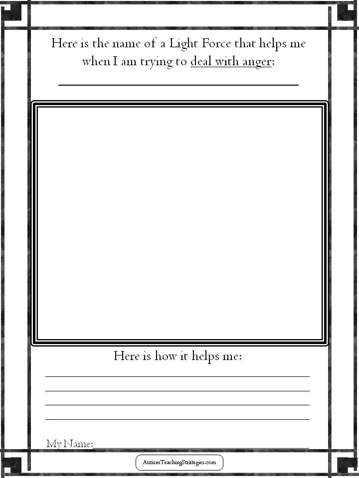 Anger Management Worksheet For Children With Autism Counseling