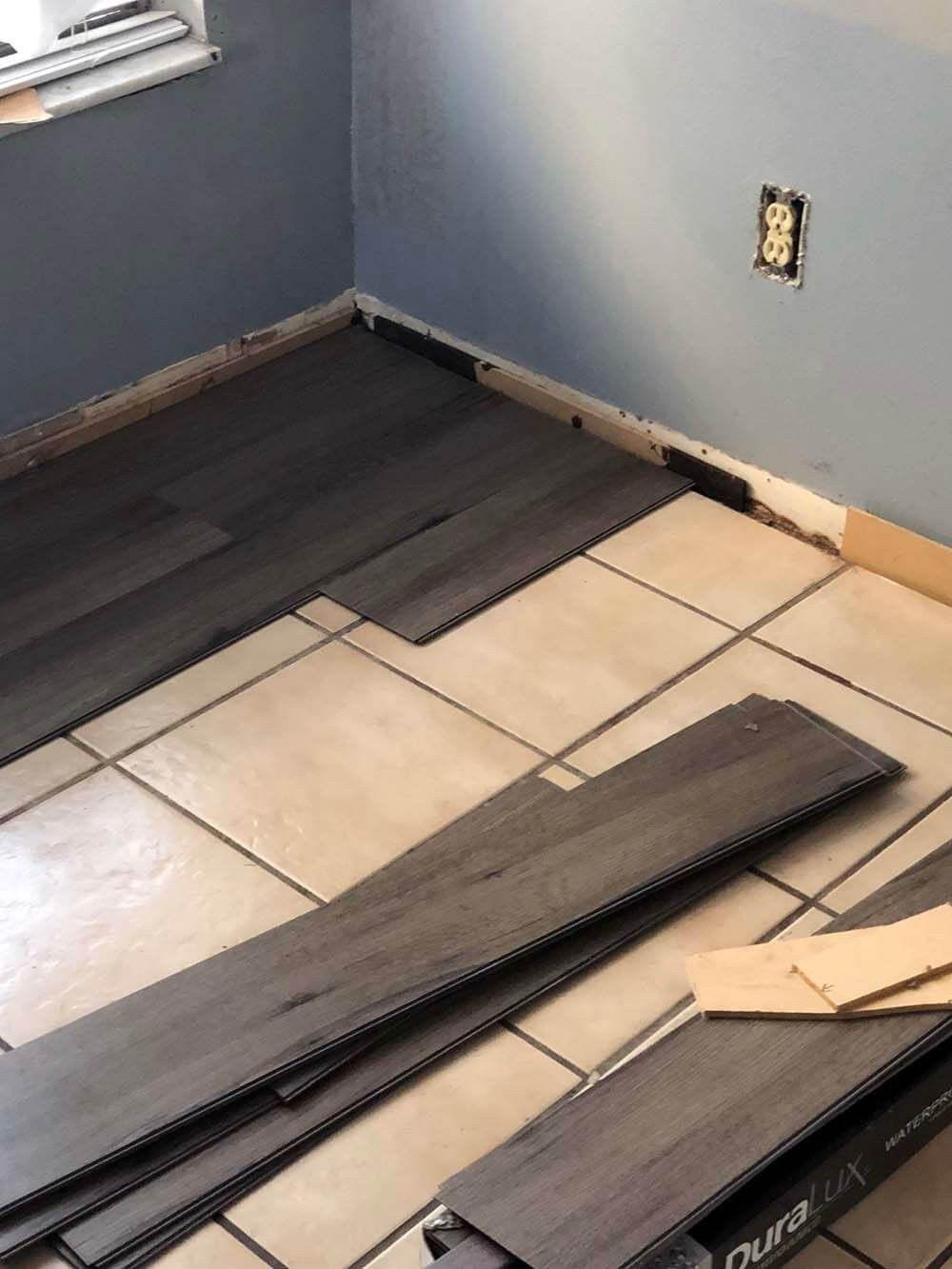 Lvt Tiles Over Ceramic Tile The Supplies To Lay The Floor Myself Duralux Lux Luxury Vinyl Plank Flooring Kitchen Luxury Vinyl Plank Luxury Vinyl Tile Kitchen