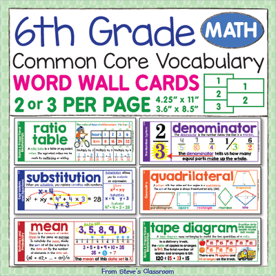 Word+Wall+For+6th+Grade+Math+from+The+Illustrated+Classroom+on+ ...