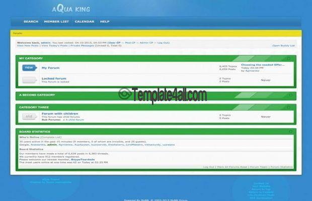 MyBB Templates - Clean Green Blue Template Design #mybb